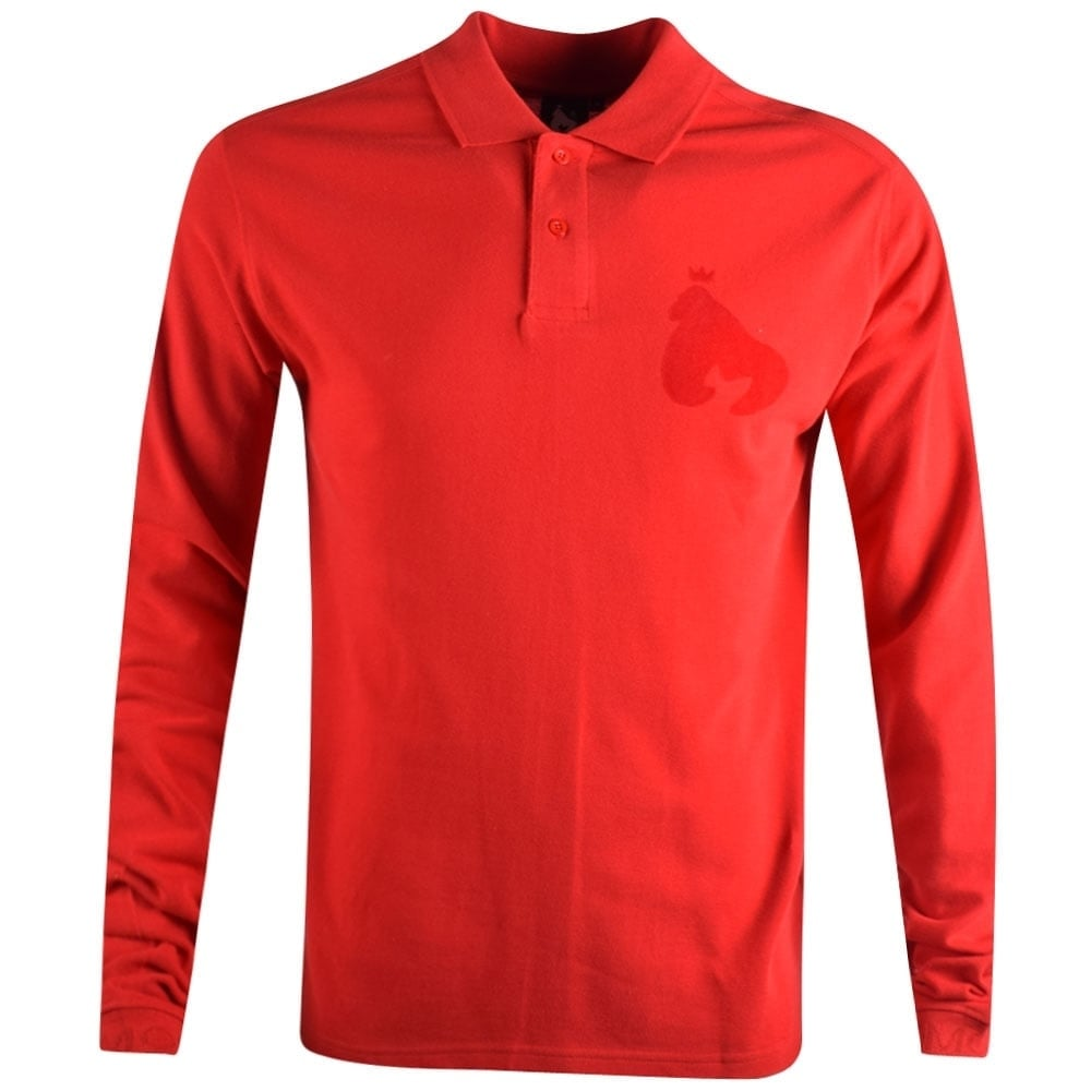 MONEY CLOTHING Money Red Ape Logo Long Sleeve Polo Shirt - Men from ... bebd92ae39e