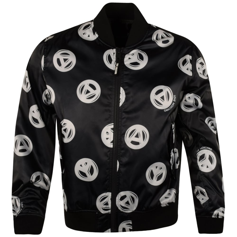 MOSCHINO JEANS Moschino Black All Over Peace Sign Print Bomber ...