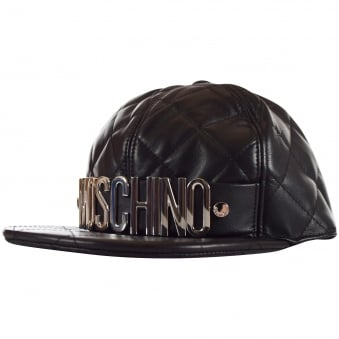 Moschino Black Leather Quilted Letter Snapback Cap