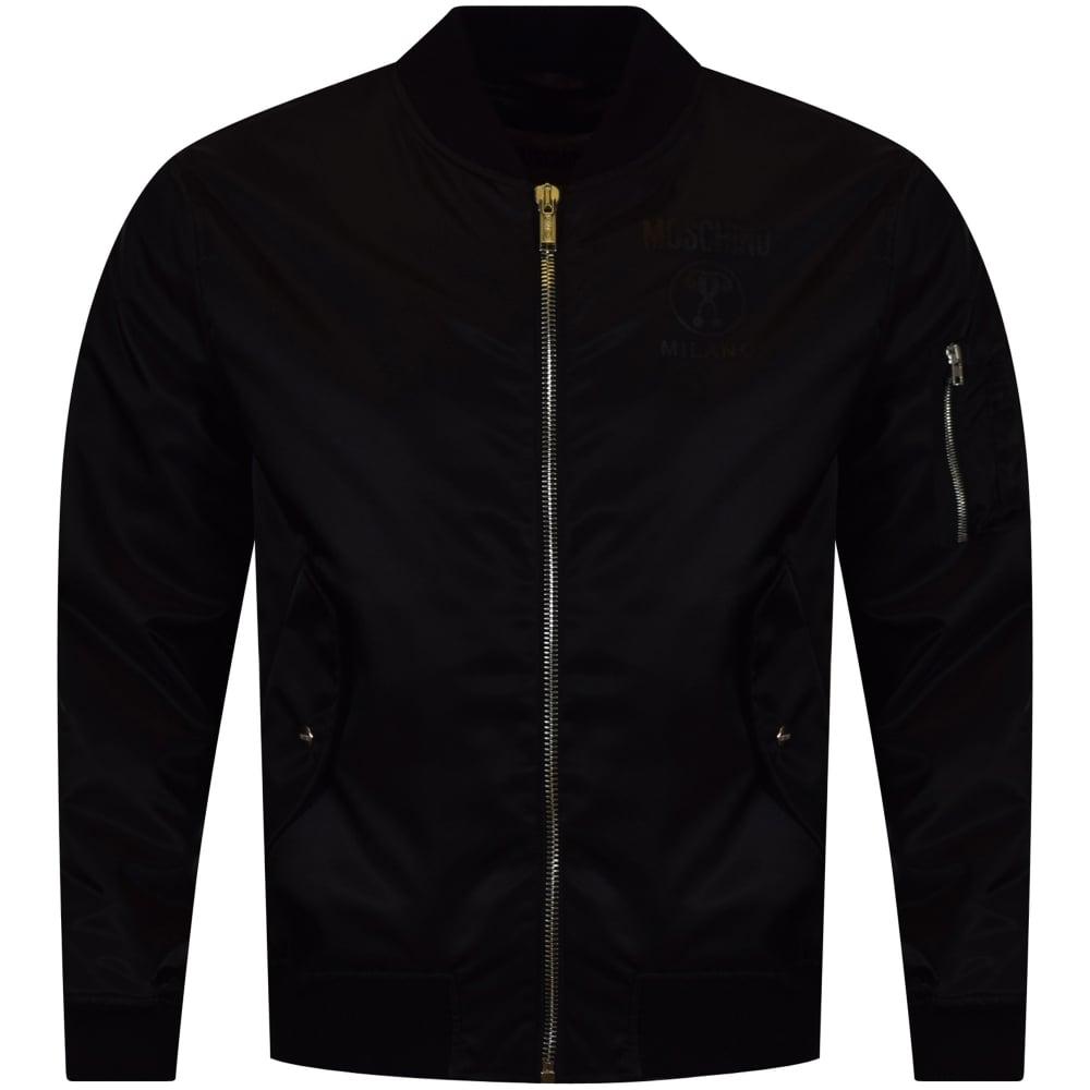 MOSCHINO Moschino Black Logo MA1 Bomber Jacket - Men from ...