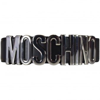 Moschino Black/Silver Logo Belt