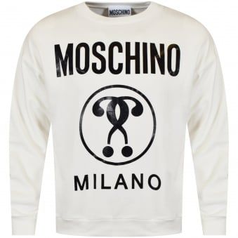 Moschino Cream Large Logo Print Sweatshirt