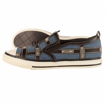 Moschino Denim Band Slip On Low Cut Trainers