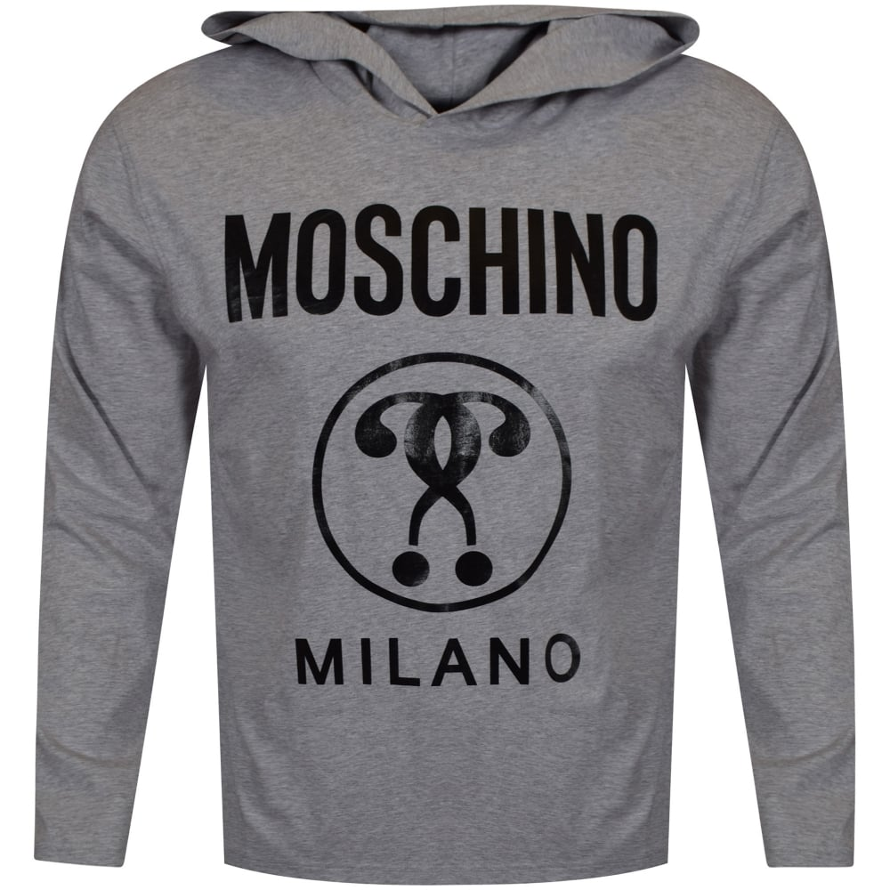 73cf446877d7a MOSCHINO Moschino Grey/Black Milano Print Hooded T-Shirt ...