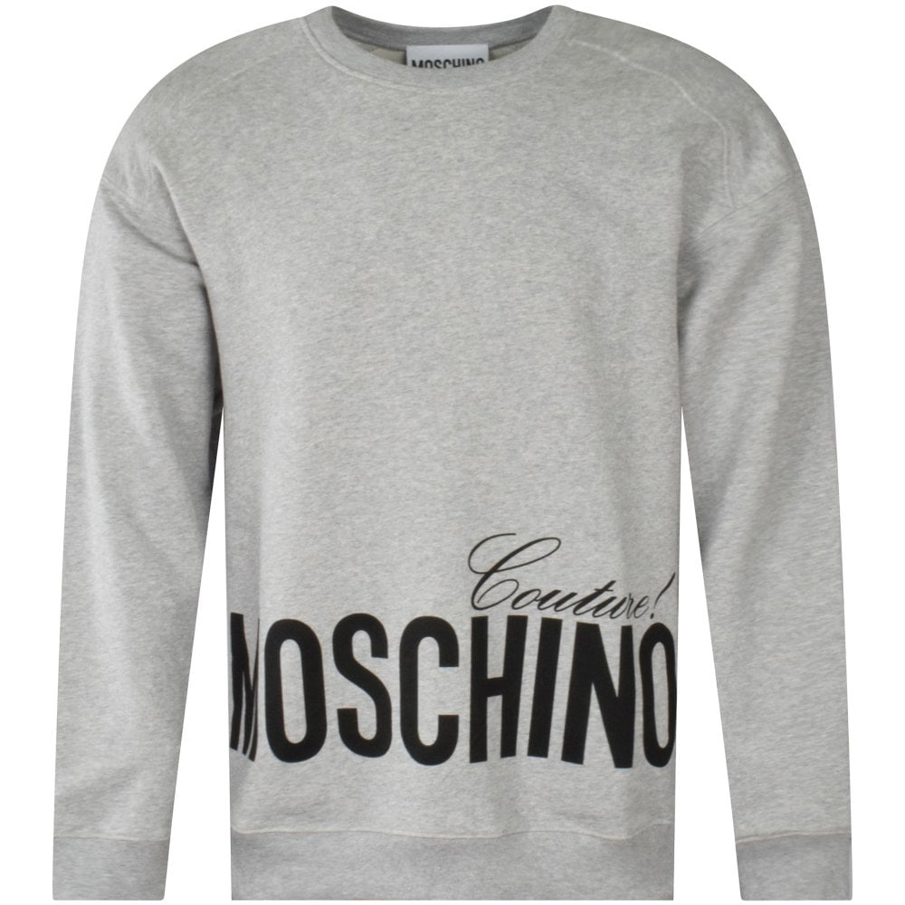 Grey sweatshirt with Moschino Couture print in black