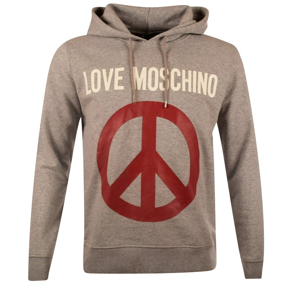 moschino jeans moschino grey love moschino pullover hoodie men from brother2brother uk. Black Bedroom Furniture Sets. Home Design Ideas