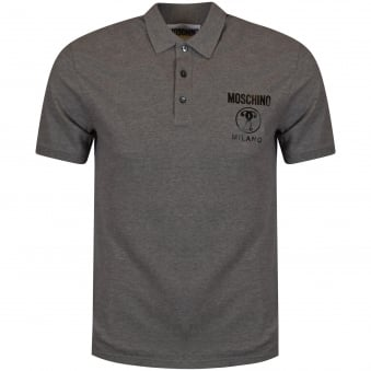 Moschino Grey Printed Logo Polo Shirt