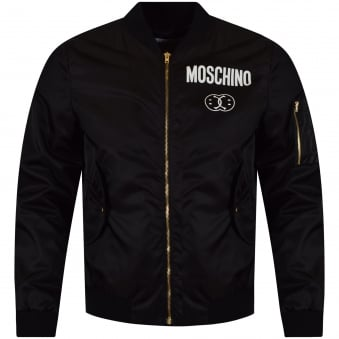 Moschino Jeans Black Double Smile Logo Bomber Jacket