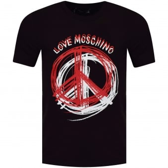 Moschino Jeans Black Peace Paint Logo T-Shirt