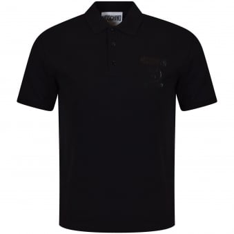 Moschino Jeans Black Printed Logo Polo Shirt