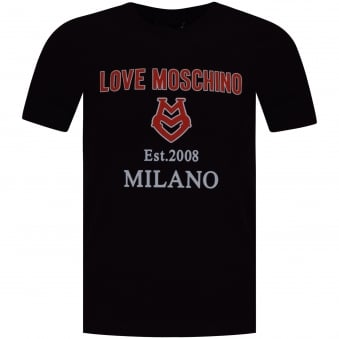Moschino Jeans Black/Red 3D Milano Print T-Shirt