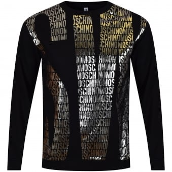 Moschino Jeans Black & Silver Text Code Sweatshirt