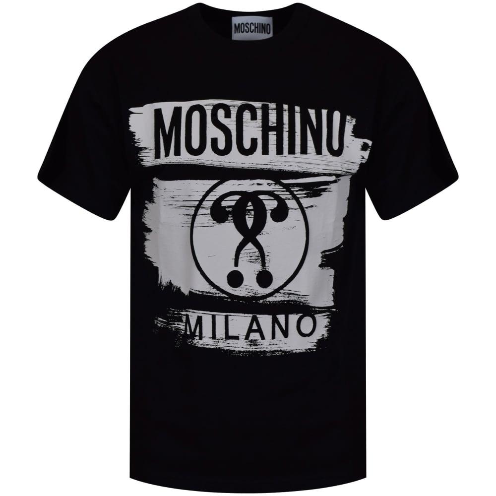 8e3e1c3e MOSCHINO Moschino Jeans Black/White Paint Logo Oversized T-Shirt ...