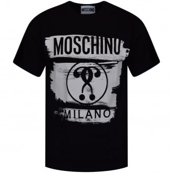 Moschino Jeans Black/White Paint Logo Oversized T-Shirt