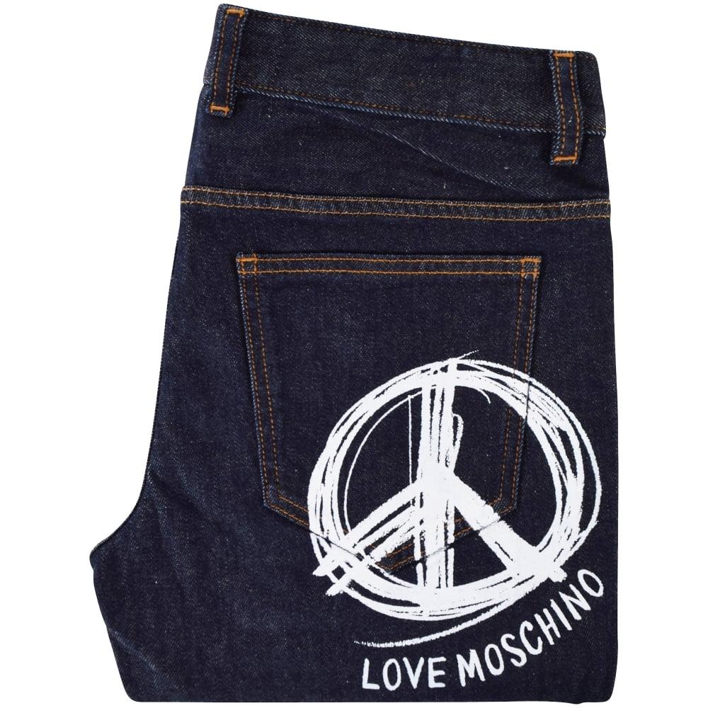 7ea8100651 Moschino Jeans Dark Wash Large Print Logo Slim Fit Jeans