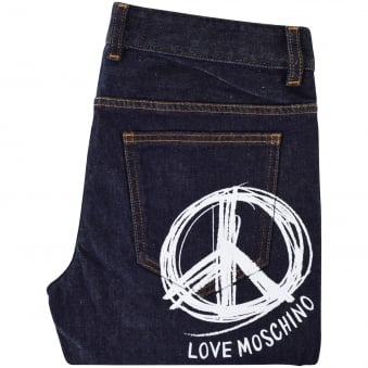 Moschino Jeans Dark Wash Large Print Logo Slim Fit Jeans