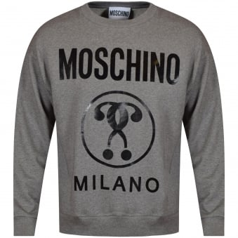 Moschino Jeans Grey Large Printed Logo Sweatshirt