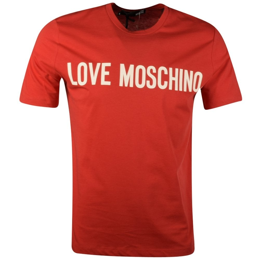 moschino jeans love moschino red print t shirt moschino jeans from brother2brother uk. Black Bedroom Furniture Sets. Home Design Ideas
