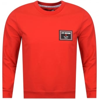 Love Moschino Red Rubber Logo Crew Neck Sweatshirt