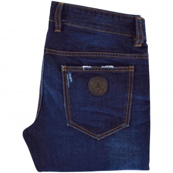 Moschino Dark Wash Distressed Denim Jeans