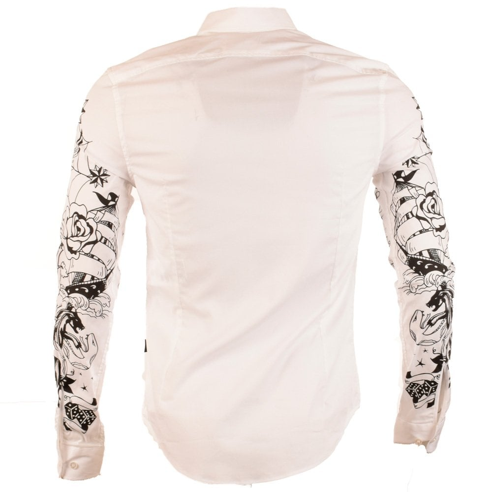 Moschino jeans moschino tattoo white long sleeve shirt for Tattoo shirts long sleeve