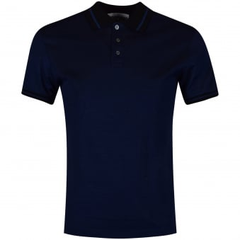 Moschino Jeans Navy & Black Back Logo Polo Shirt