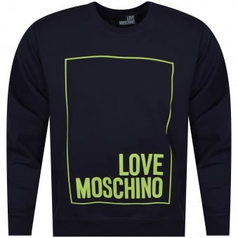 Moschino Jeans Navy/Lime Border Text Logo Sweatshirt