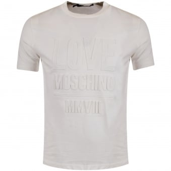Moschino Jeans Off White 3D Logo T-Shirt