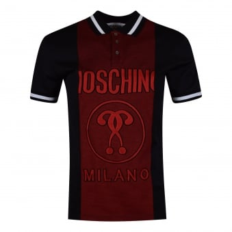 Moschino Jeans Red & Black Logo Polo Shirt