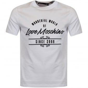 Moschino Jeans White 3D Print T-Shirt