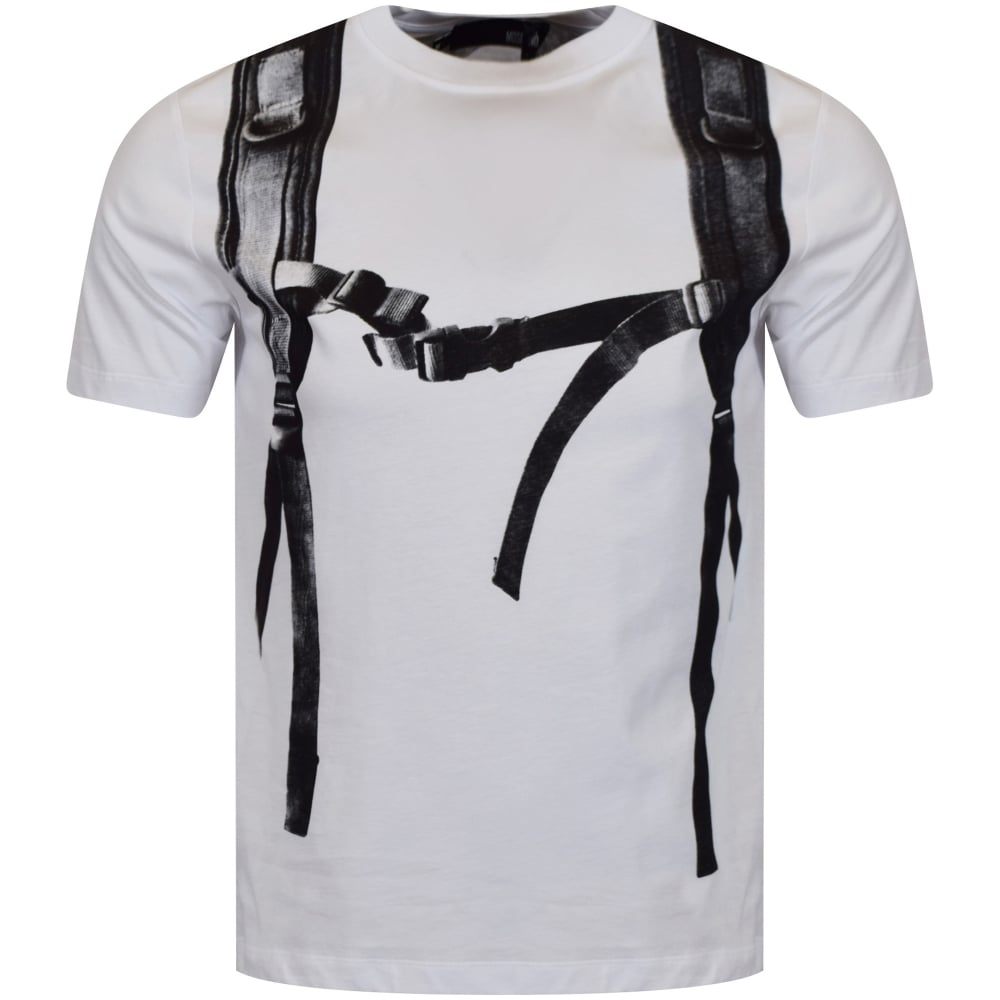 love moschino moschino jeans white backpack logo t shirt. Black Bedroom Furniture Sets. Home Design Ideas