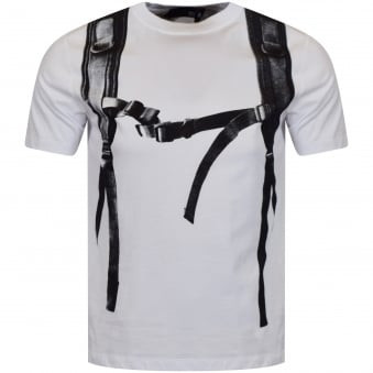 Moschino Jeans White Backpack Logo T-Shirt