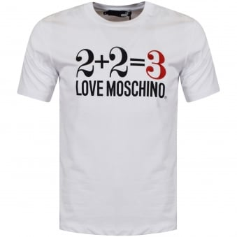 Moschino Jeans White Equation Logo T-Shirt