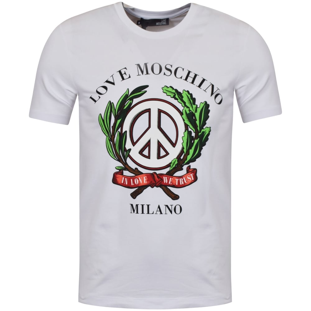moschino jeans moschino jeans white 39 in love we trust 39 t shirt men from brother2brother uk. Black Bedroom Furniture Sets. Home Design Ideas
