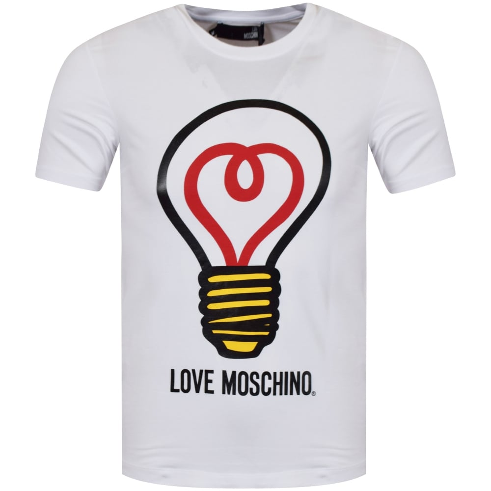 love moschino moschino jeans white light bulb logo t shirt. Black Bedroom Furniture Sets. Home Design Ideas