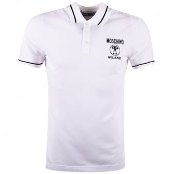 Moschino Jeans White Logo Polo Shirt