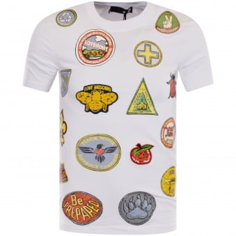 Moschino Jeans White Multi Logo T-Shirt