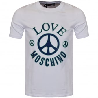Moschino Jeans White Peace Print T-Shirt