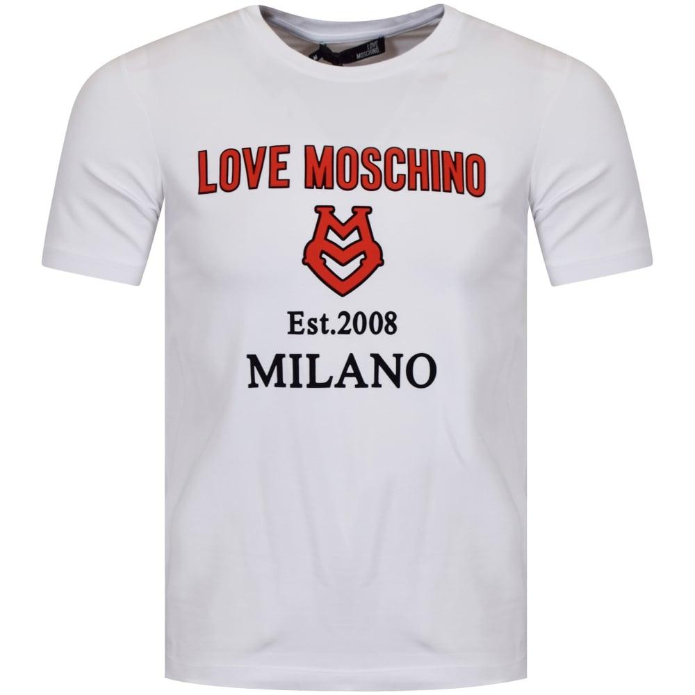 Moschino Est 2008 Milano T-Shirt in White Gildan Size S to 3XL