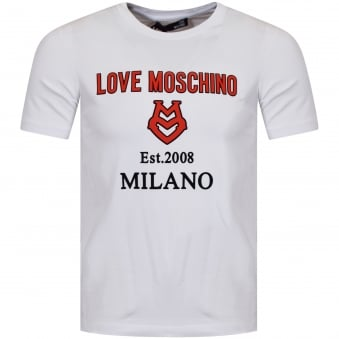 Moschino Jeans White/Red 3D Print Logo T-Shirt