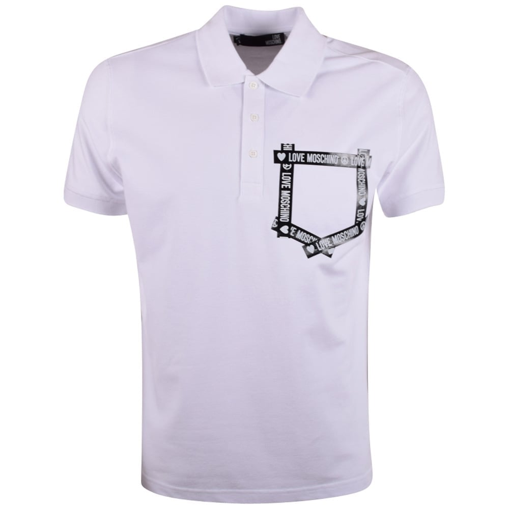 86984d1721e LOVE MOSCHINO Moschino Jeans White Tape Pocket Logo Polo Shirt ...