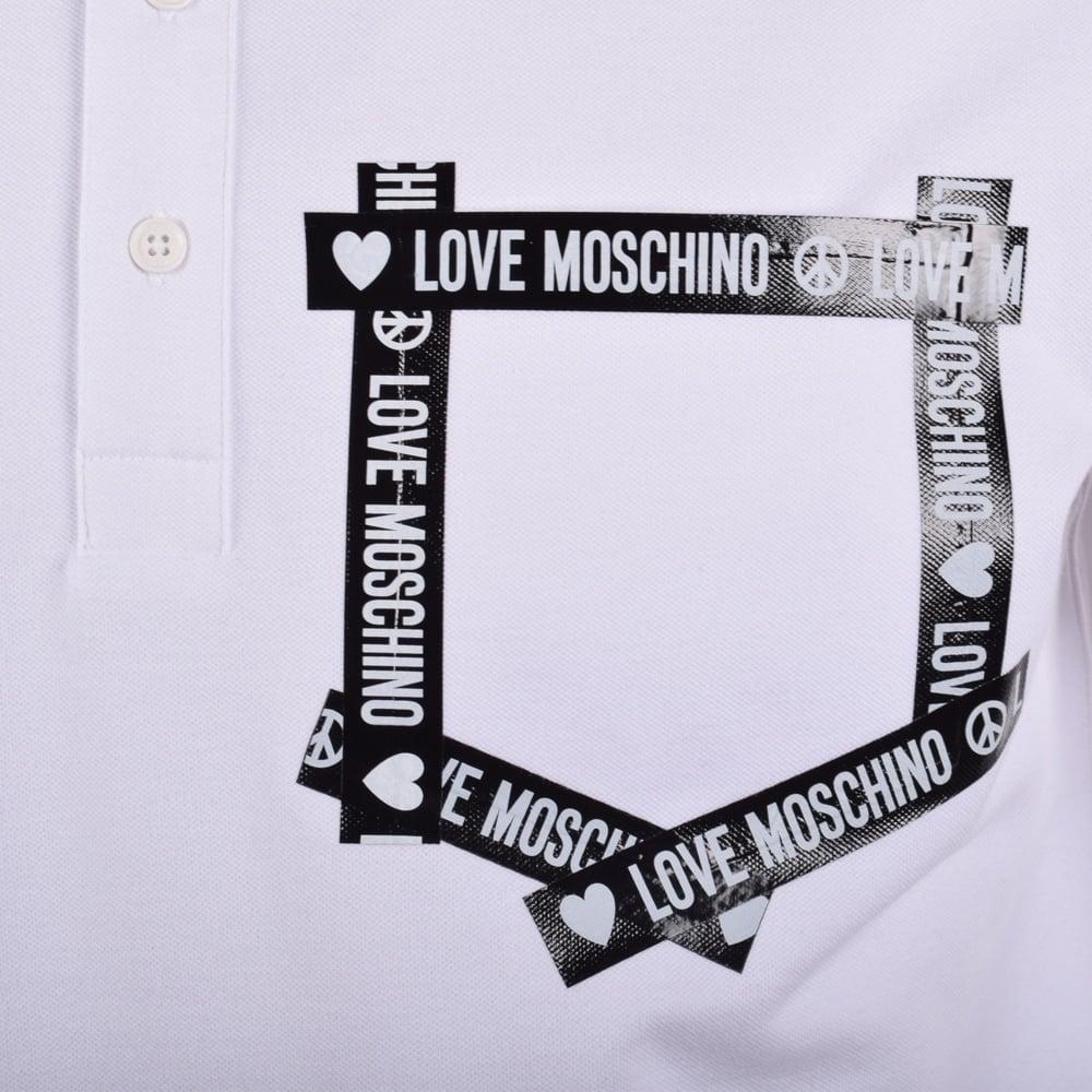 132f6f51 LOVE MOSCHINO Moschino Jeans White Tape Pocket Logo Polo Shirt ...