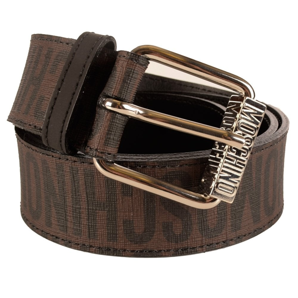moschino moschino all print leather brown belt