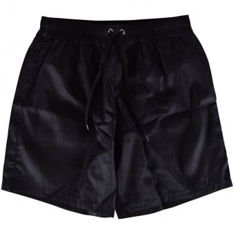 Moschino Swim Black All Over Text Swim Shorts