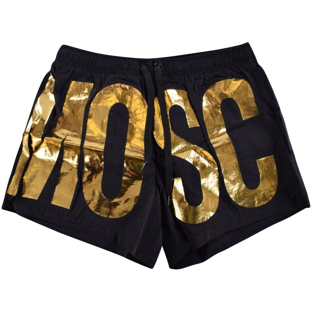 69dc43ba45 MOSCHINO Moschino Swim Black/Gold Detailing Swim Shorts - Men from ...