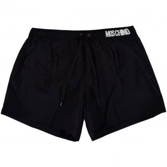 Moschino Swim Black/White Metal Logo Swim Shorts