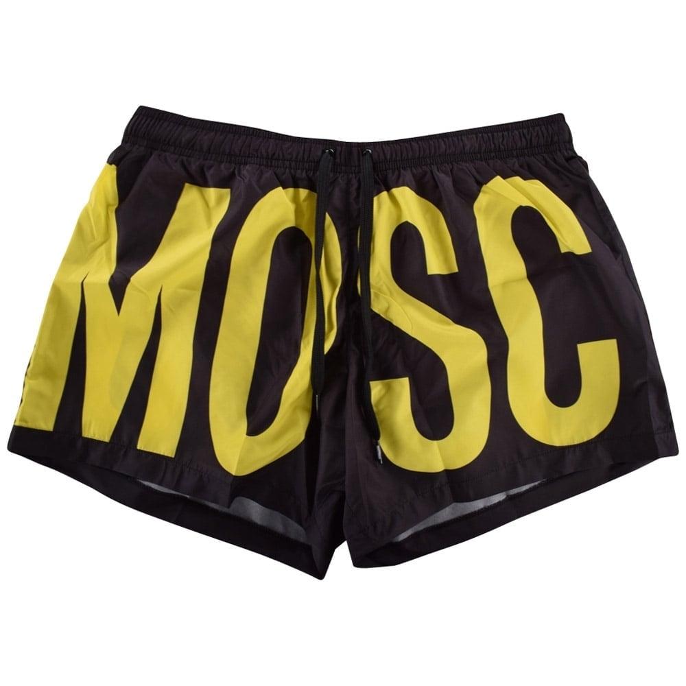 54c5a2264ca9c MOSCHINO SWIM Moschino Swim Black & Yellow All Over Logo Swim Shorts ...
