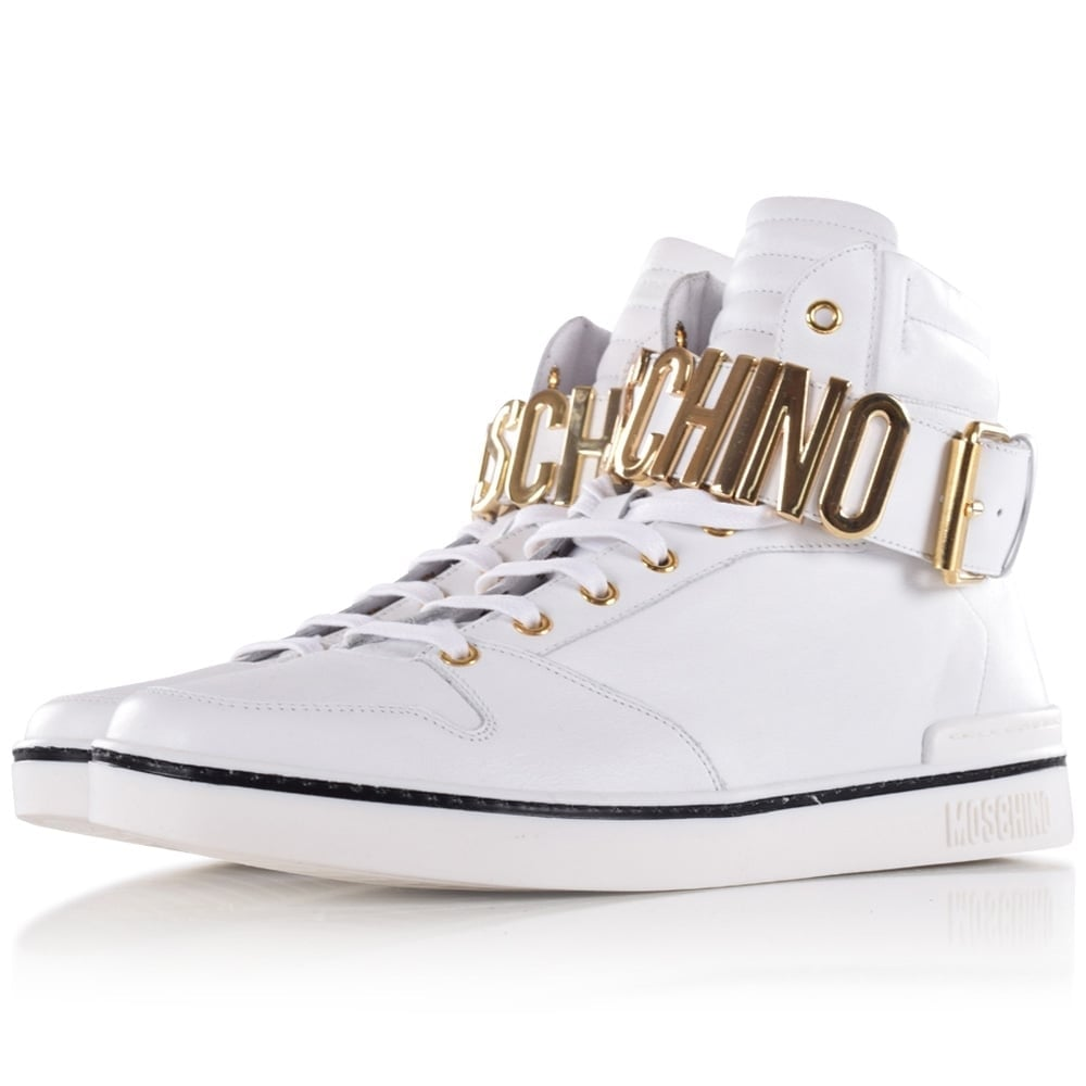 baa52473 Moschino White & Gold Letter Hi-Top Trainers