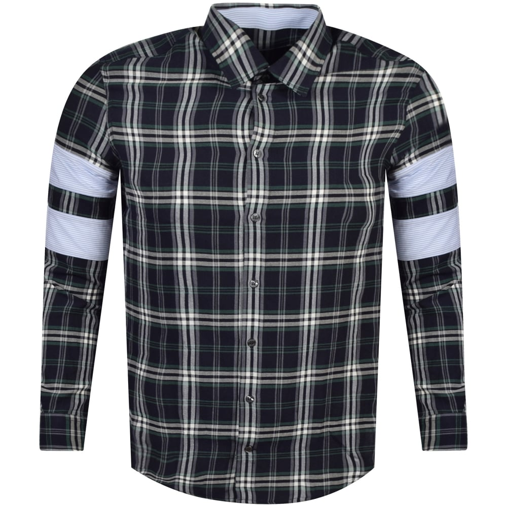 4c34a53098a MSGM Navy Green Check Panel Shirt - Men from Brother2Brother UK