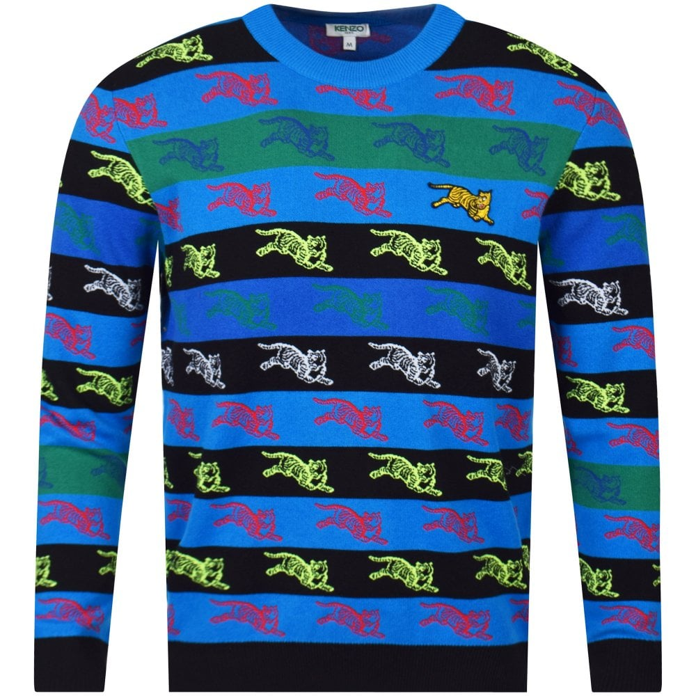 caee3d55 KENZO Multi Stripe Tiger Stitch Knitted Jumper - Men from ...